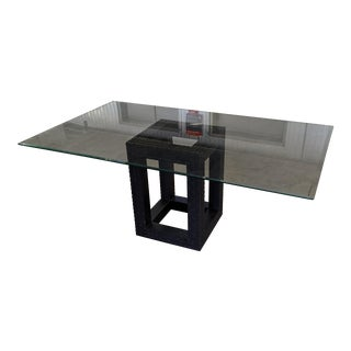 Modern Wood Cube and Glass Dining Table For Sale