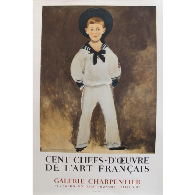 1961 Original French Exhibition Poster - Cent Chefs-d'Oeuvre De l'Art Français - Galerie Charpentier For Sale - Image 4 of 4