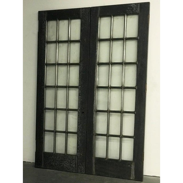 Industrial Tall Brushed Steel and Glass Doors For Sale - Image 4 of 12