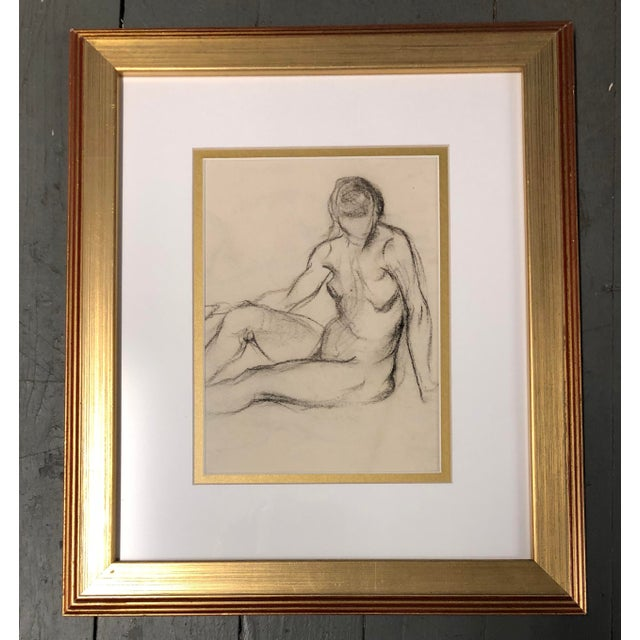 Original charcoal Studies circa 1930's with vintage frames 12 x 13.5 , 14 x 16 , 12.5 x 14.5 As shown wall size approx 30...