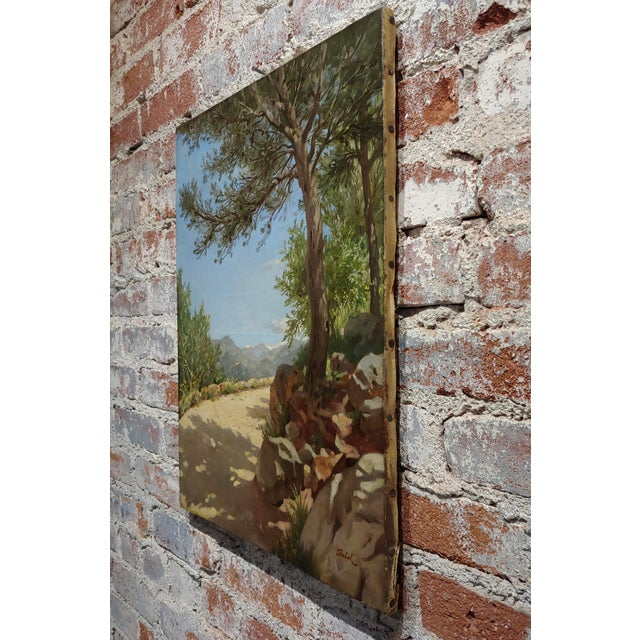 Canvas Pierre Adrien Chabal Dussurgey Picturesque Country Side Road-Oil Painting-C1860s For Sale - Image 7 of 10