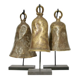 Collection of Three African Bells on Stands For Sale