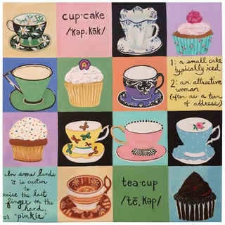 Cupcakes and Teacups Artist Proof on Canvas For Sale