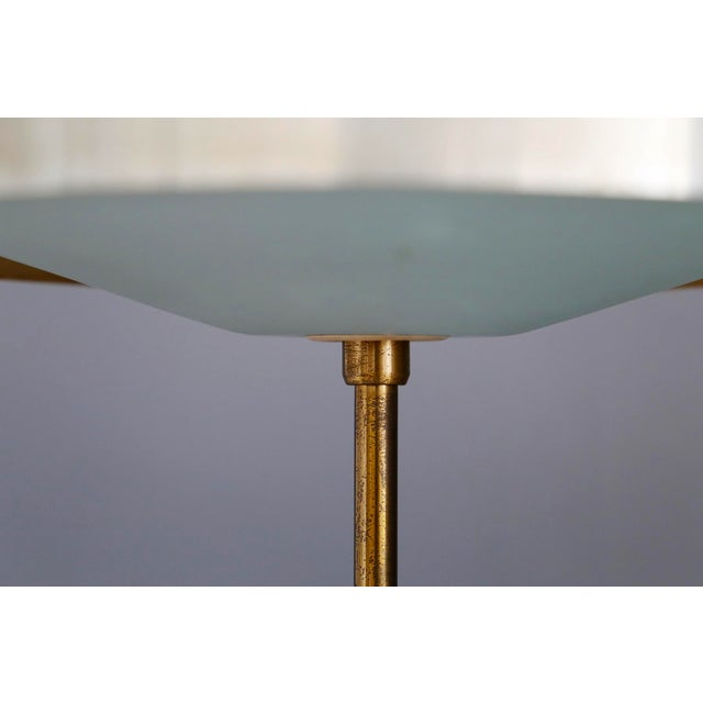 Green Oscar Torlasco MidCentury Table Lamp in Brass and Cased Glass by Lumi 1950s For Sale - Image 8 of 9