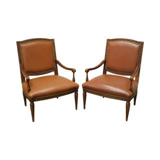 Brandon Design Louis XVI Style Tan Leather Pair Armchairs For Sale