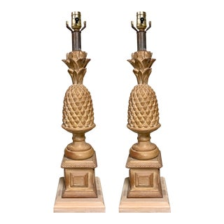 Pair of Carved Wood Pineapple Lamps Att. To Chapman For Sale