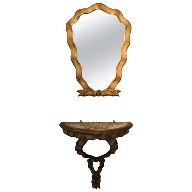 1940s Gilt Frame Italian Mirror and Console For Sale - Image 11 of 11