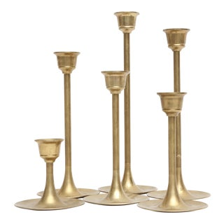 Vintage Brass Candle Holders - Set of 6 For Sale