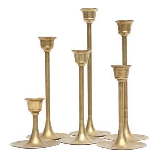 Vintage Brass Candle Holders - Set of 6