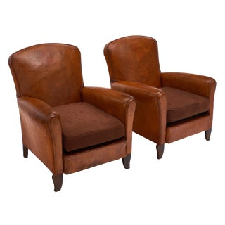 French Lambskin Club Chairs - a Pair For Sale