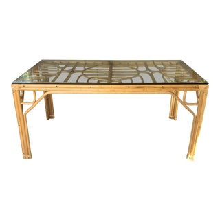 Vintage Bamboo & Glass Top Dining Table For Sale
