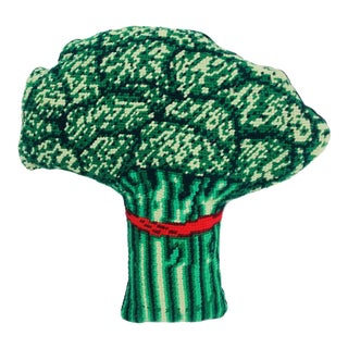 Broccoli Needlepoint Pillow