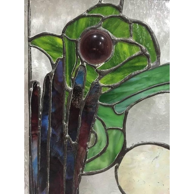 Stained Glass of Two Parrots in Wood Frame For Sale - Image 9 of 10