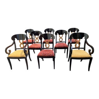Curved Gold Leaf Lacquered Scroll Arm Dining Chairs - Set of 8 For Sale