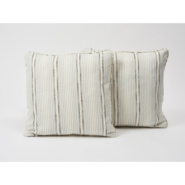 2010s Schumacher Double-Sided Pillow in Moncorvo Stripe Linen Print For Sale - Image 5 of 7