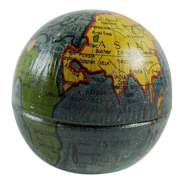 Vintage Tin Globe Pencil Sharpener For Sale