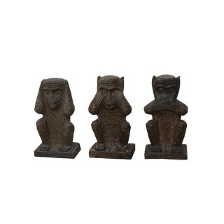 Chinese Small Oriental Three Monkey Stone Figures Set Do No Evil For Sale