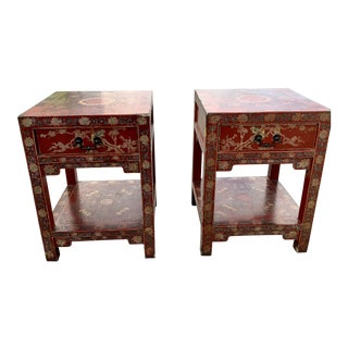 Chinoiserie Lacquer End Tables - A Pair For Sale