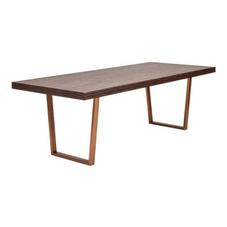 Jake Dining Table, Sumatra Brown, Burnished Brass For Sale