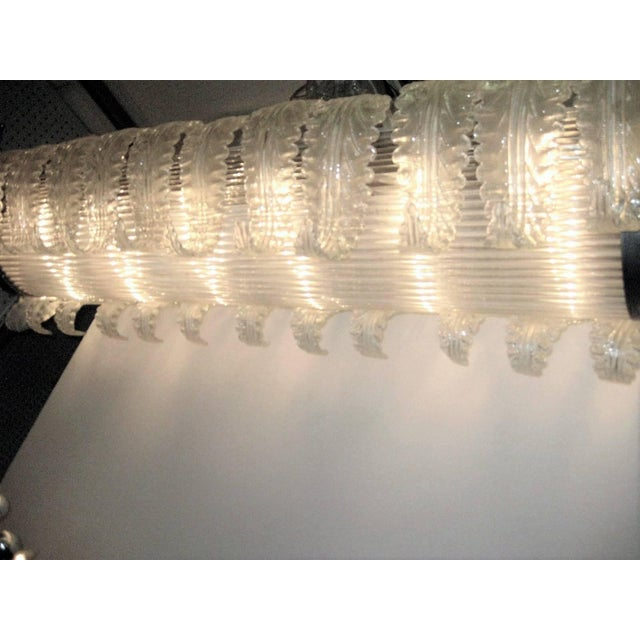 Very Large and Long Barovier E Toso Handblown, Frosted Glass Rectangular Chandelier For Sale In New York - Image 6 of 10