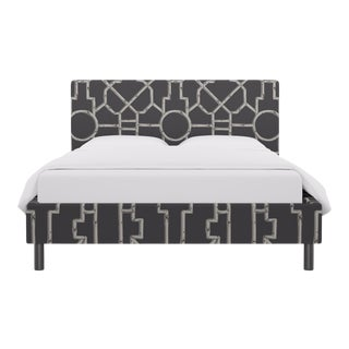 Queen Tailored Platform Bed in Grey Baldwin Bamboo By Scalamandre For Sale