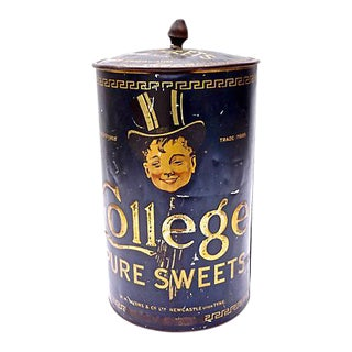 Antique College Pure Sweets Round Tole Tin For Sale