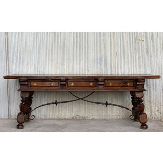 18th Spanish Bench or Low Console Table With Marquetry Drawers & Iron Stretcher Preview