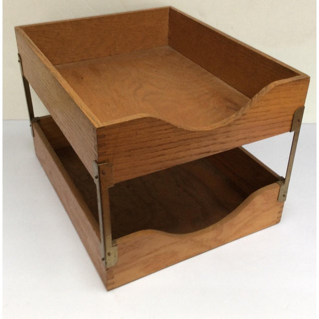 Cool Vintage Tiered Desk Stacking Tray This Is A Classic Two Oak Constructed Organizer
