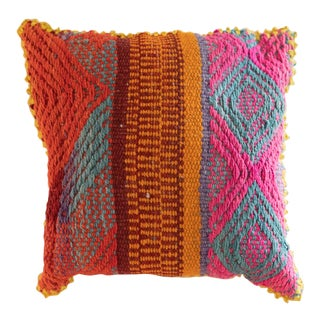 Peruvian Orange, Pink & Blue Frazada Pillow Cover For Sale