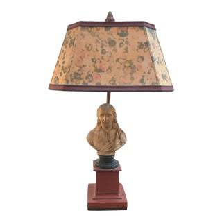 1980s Small Lamp With Bust of Ben Franklin and Custom Shade For Sale