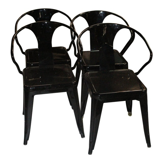 Late 20th Century Black Chairs- Set of 4 For Sale