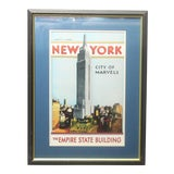 Image of Vintage New York City Empire State Building Travel Poster Art Print For Sale