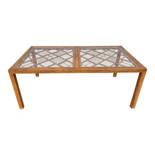 20th Century Boho Chic Burnt Bamboo Dining Table For Sale