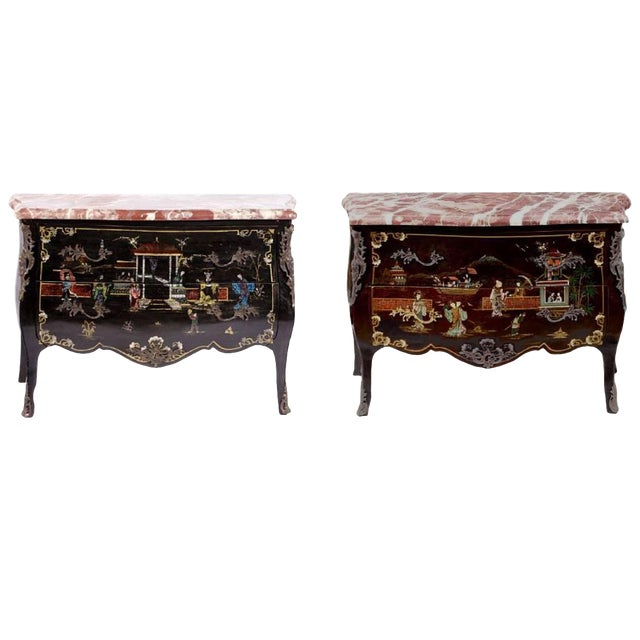 Pair of Louis XV Style Chinoiserie Marble-Topped Commodes For Sale
