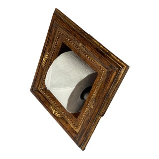 """Italian Baroque Style Bathroom Paper Holder in """"Luciano"""" Walnut With Parcel-Gilt by Judson Rothschild for The Rothschild Collection For Sale"""