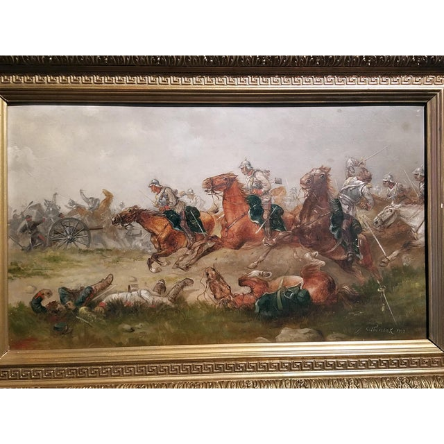 Figurative 1897 Franco Prussian War Oil Painting on Board by G. Thorsbaek For Sale - Image 3 of 8