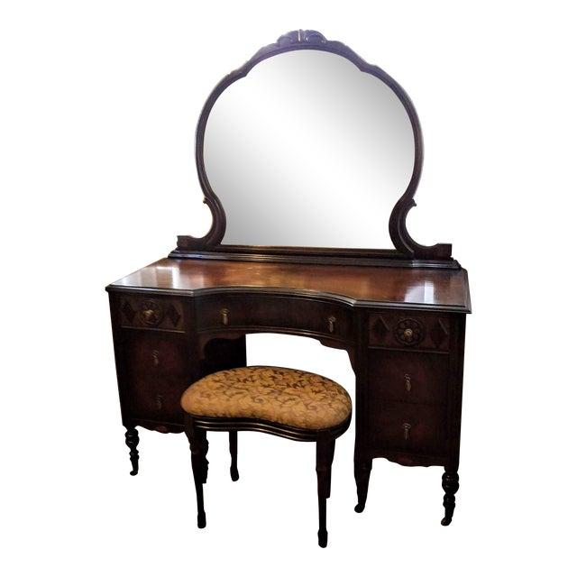 1910 Antique Mahogany Vanity and Stool Set - 1910 Antique Mahogany Vanity And Stool Set Chairish