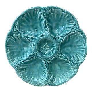 1950 Gien Aqua Majolica Oyster Plate For Sale