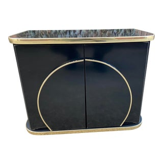 1980s Deco Style Black Nightstand For Sale