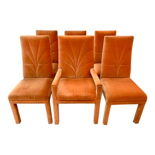 Mid Century Orange Mohair Upholstered Dining Chairs For Sale