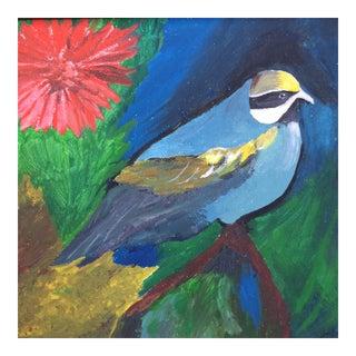 Garden Bird and Flower Original Framed Painting by John R Crane For Sale