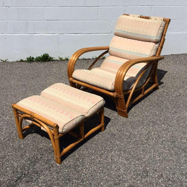 Asian 1960s Vintage Bamboo Rattan Lounger Chair & Ottoman Set- 3 Pieces For Sale - Image 3 of 7