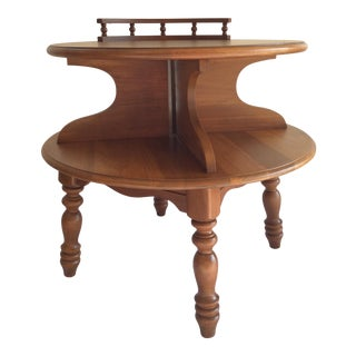 Vintage Bassett Colonial Style Two Tiered Side Table For Sale