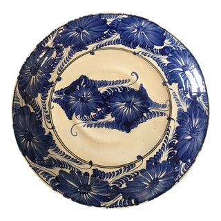 Mexican Blue and White Large Ceramic Platter For Sale