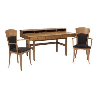 Danish Modern Teak Desk, With 20th Century Italian Antonio Sibau Armchairs - 3 Pieces