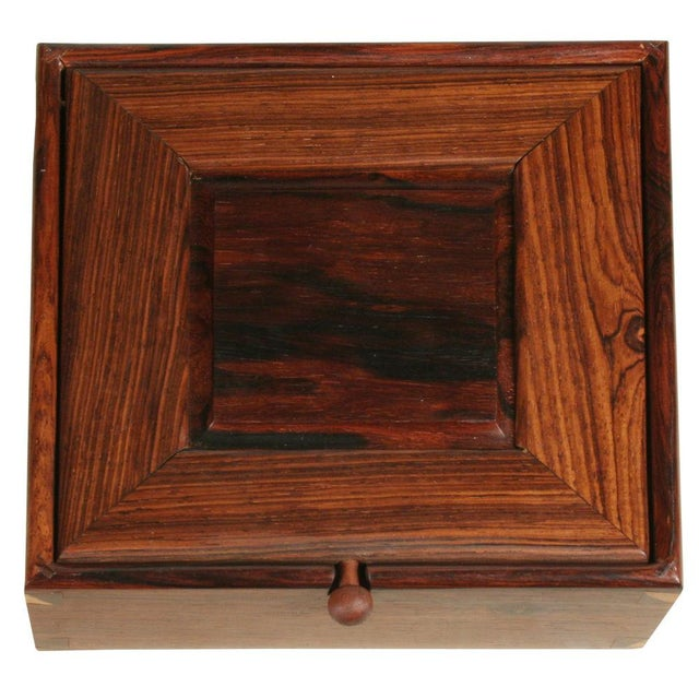 Modern Square Rosewood Jewelry Box For Sale - Image 3 of 4