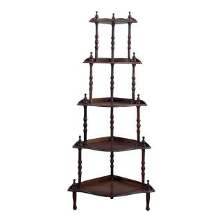 20th Century Victorian 5 Tier Corner Shelf Wood Display Stand For Sale