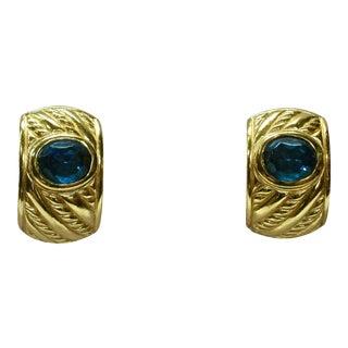 Christian Dior Blue Sapphire Clip Back Earrings For Sale
