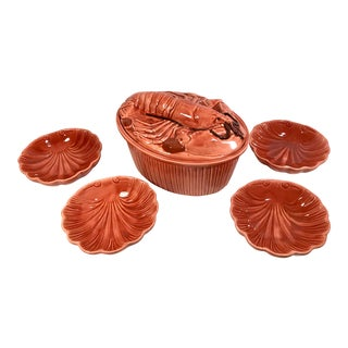 Vintage Lobster Orange Ceramic Bake Set - 6 Pc. Set For Sale