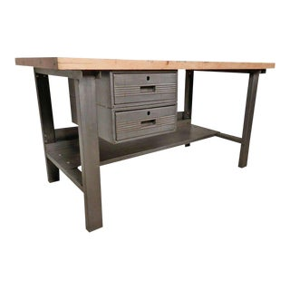Large Industrial Restored Factory Work Table For Sale